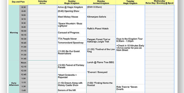 Disney Spreadsheet Pertaining To Walt Disney World Touring Plan Spreadsheet  Dream Plan Fly