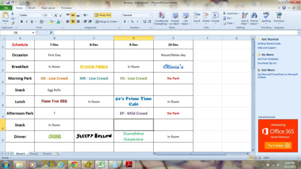 Disney World Day Planner Spreadsheet Intended For Free Disney World Day Planner Spreadsheet  Homebiz4U2Profit