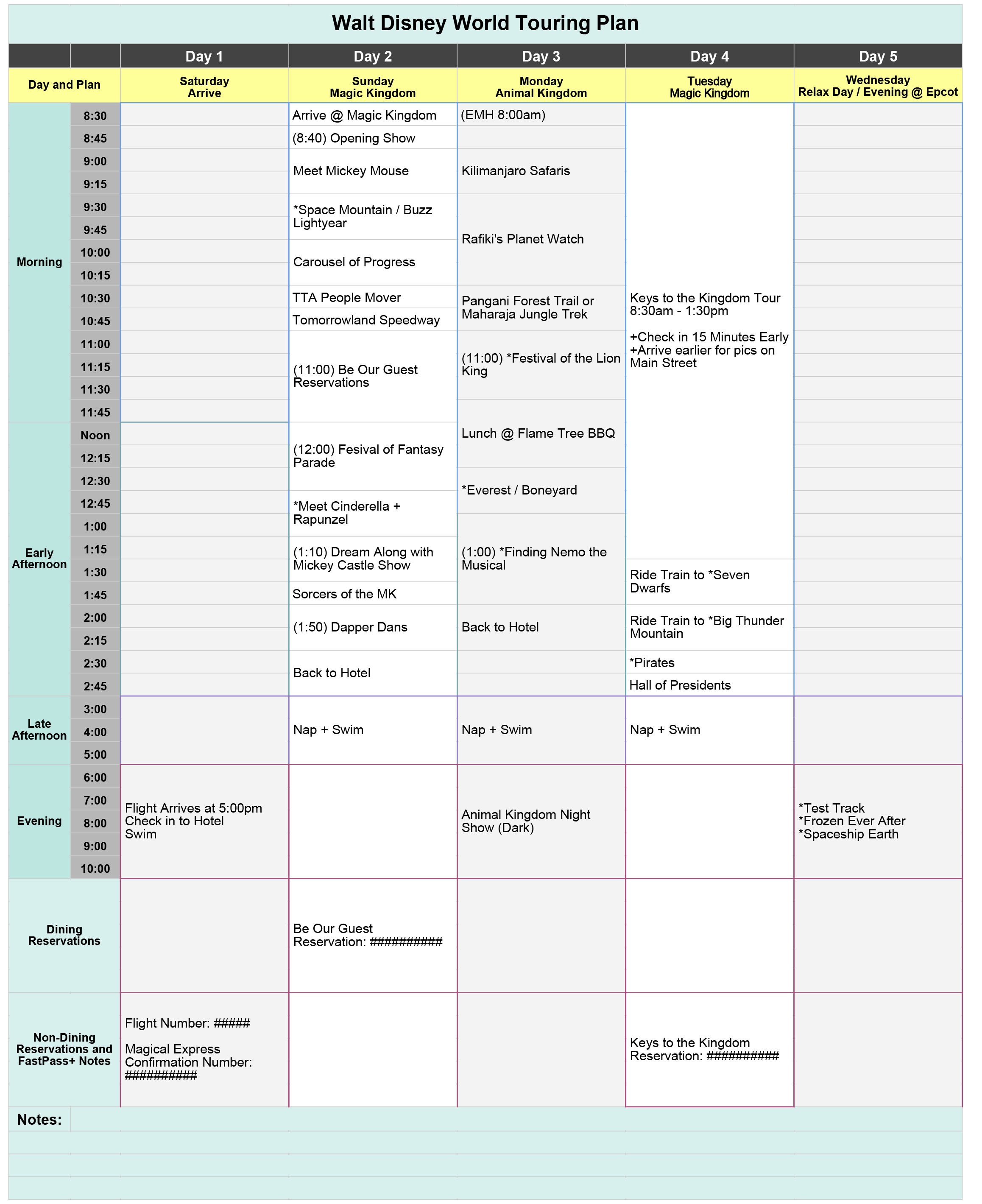 Disney World Planning Guide Spreadsheet Intended For Free Disney World Touring Plan Spreadsheet  Wit  Wander