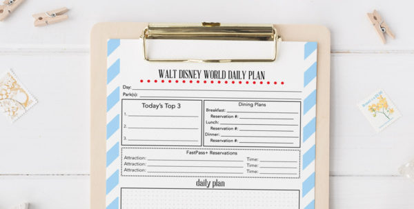 Disney World Planning Guide Spreadsheet Throughout Free Printable Walt Disney World Daily Planner  Our Handcrafted Life
