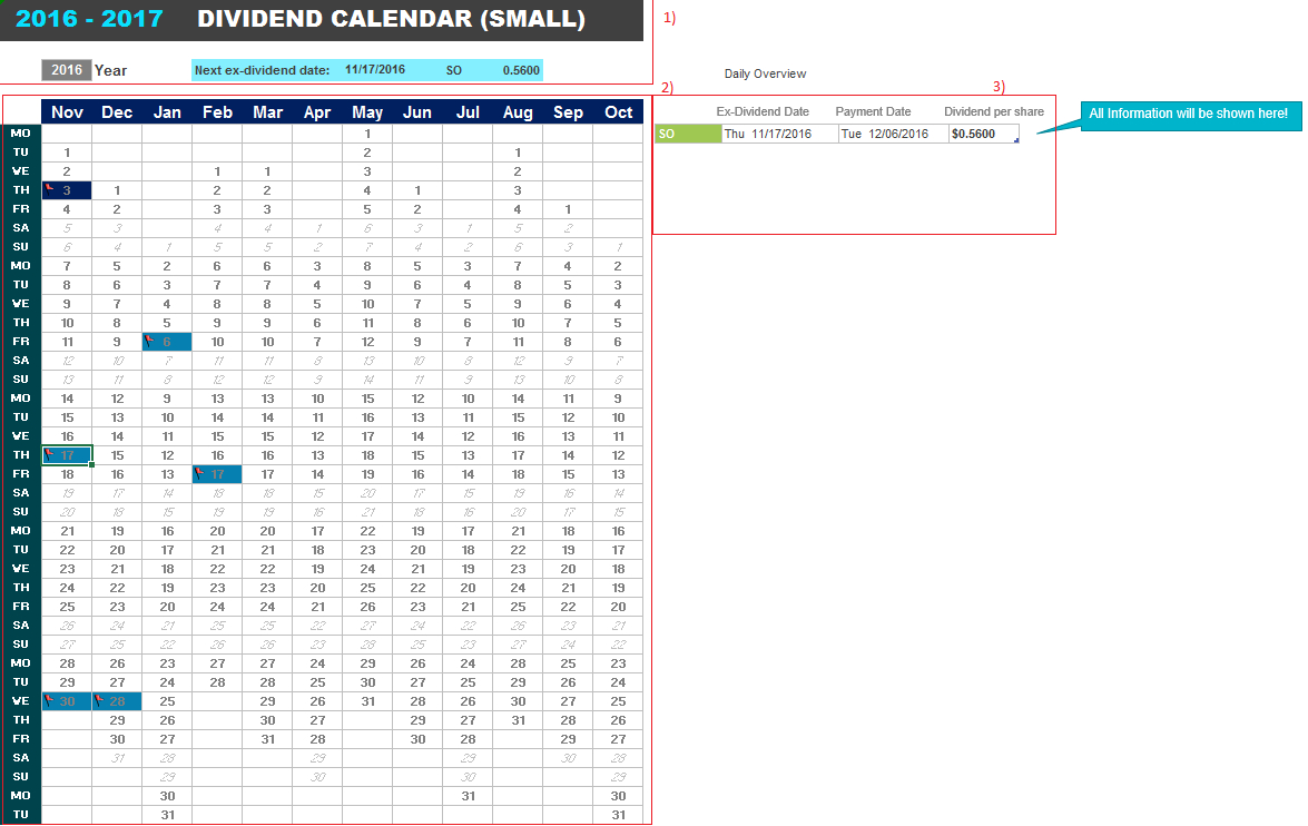 Dividend Excel Spreadsheet In Know Your Exdividend Dates Any Time With This Realtime Dividend