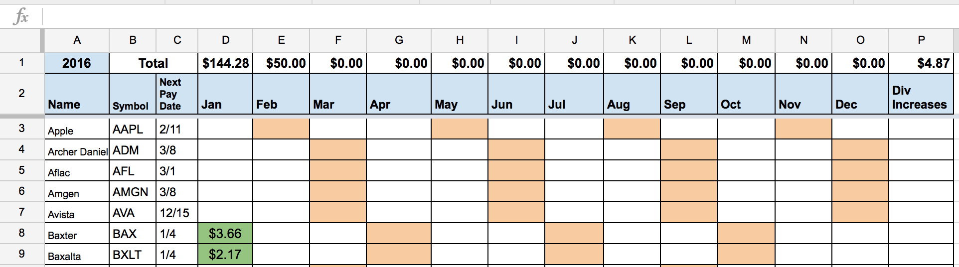 Dividend Income Spreadsheet In Dividend Stock Portfolio Spreadsheet On Google Sheets – Two Investing