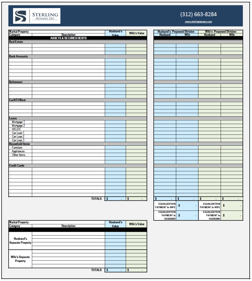 Divorce Asset Spreadsheet For Illinois Property Division Worksheet  Sterling Hughes, Llc