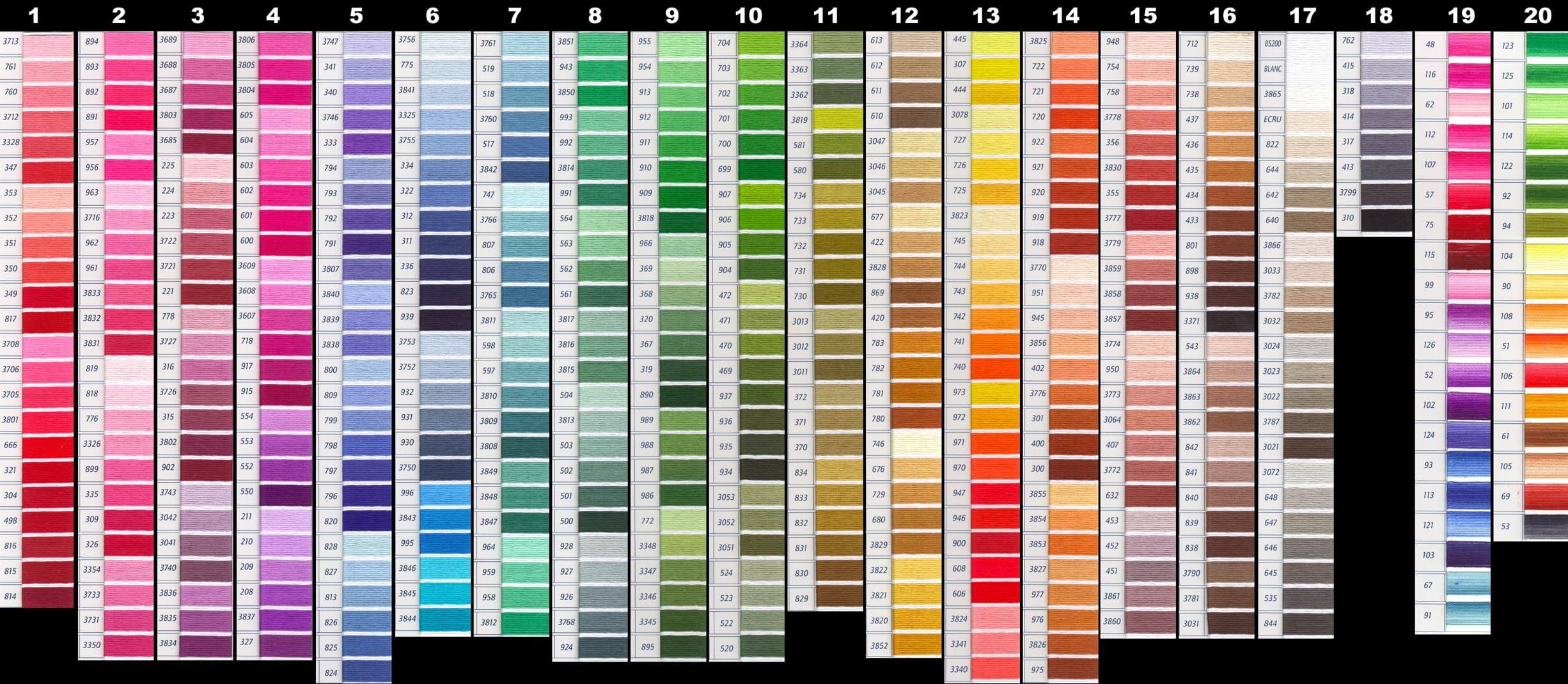 Dmc Floss Spreadsheet Within Dmc Color Chart – Updated  Lord Libidan