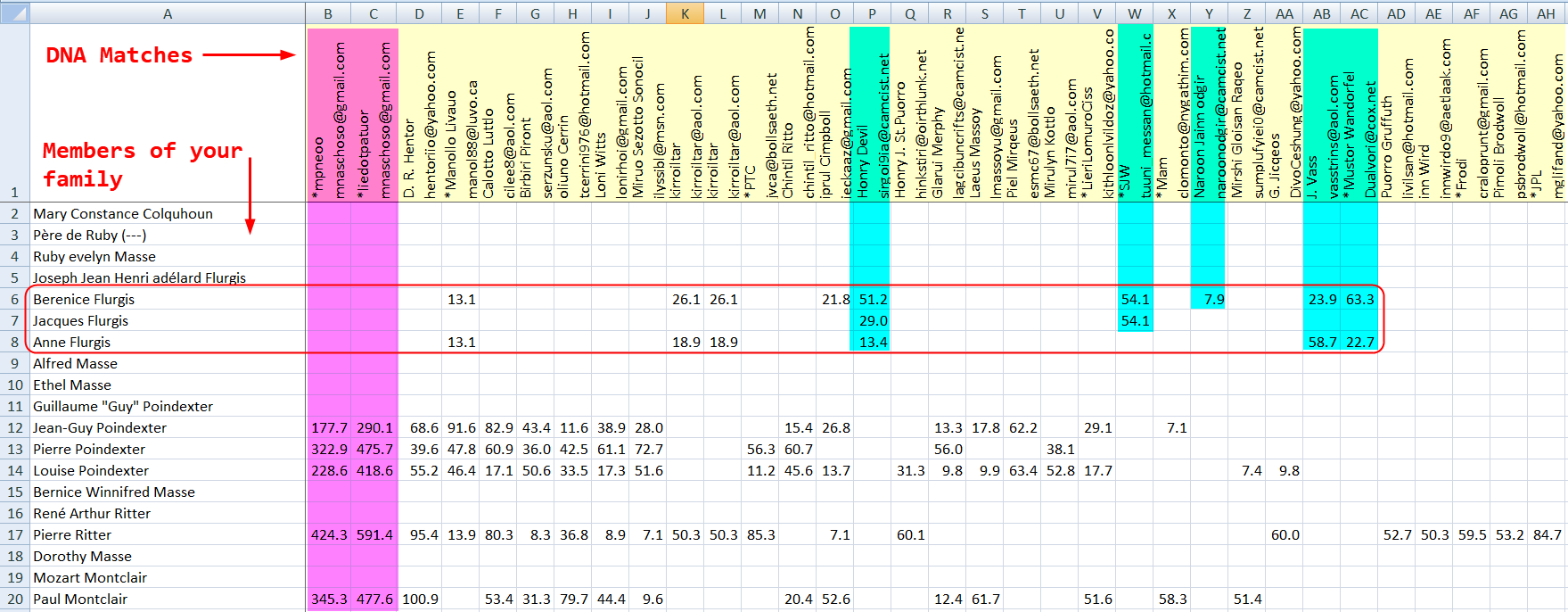 Dna Match Spreadsheet Within Dna Matches