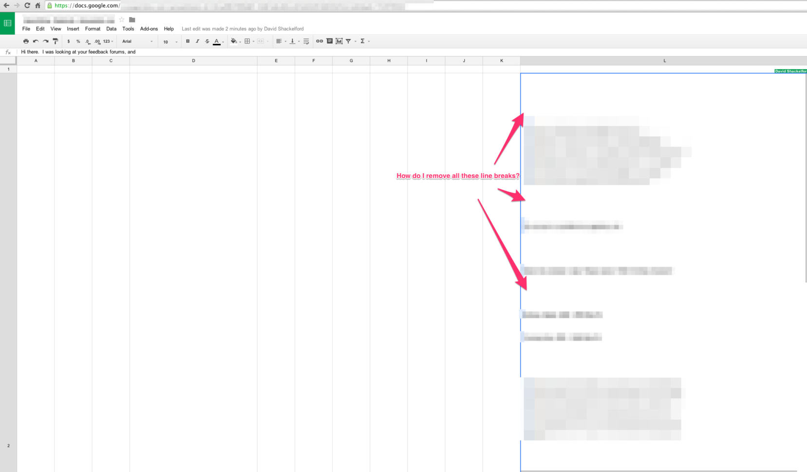 Docs Google Com Spreadsheets With Regard To How Do I Eliminate Extra Line Breaks In A Google Spreadsheets Cell