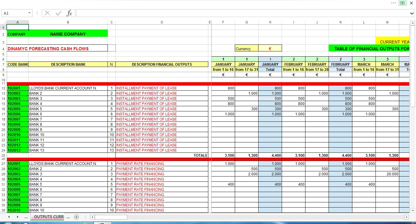 Document Management Excel Spreadsheet Throughout The Management Of The Cash Flows  Excel File V.1.01