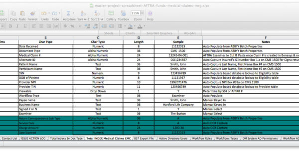 Document Spreadsheet Inside Master Project Spreadsheet  Services  Proconversions