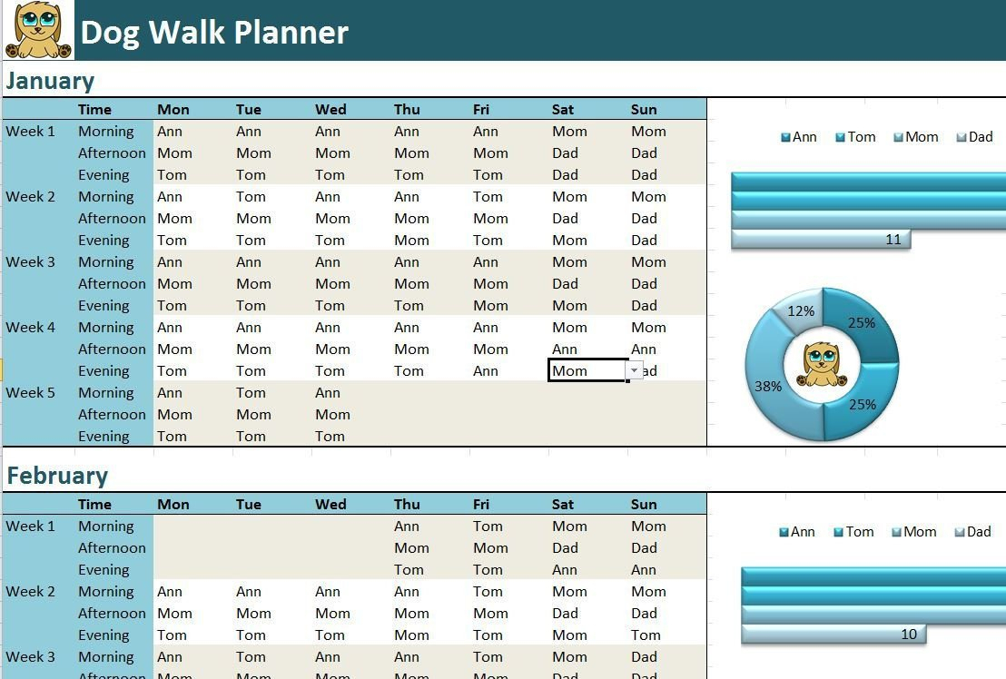 Dog Walking Excel Spreadsheet Intended For Dog Walk Planner Excel Template Activity Diary Spreadsheet  Etsy