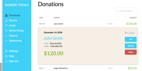 Donor Management Spreadsheet Within Donation Management Software  Donor Tools
