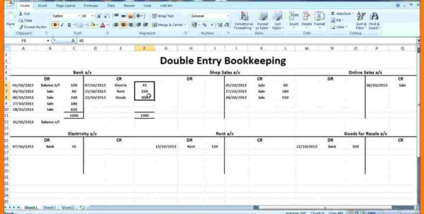 Double Entry Bookkeeping Spreadsheet In Excel Double Entry Bookkeeping Template