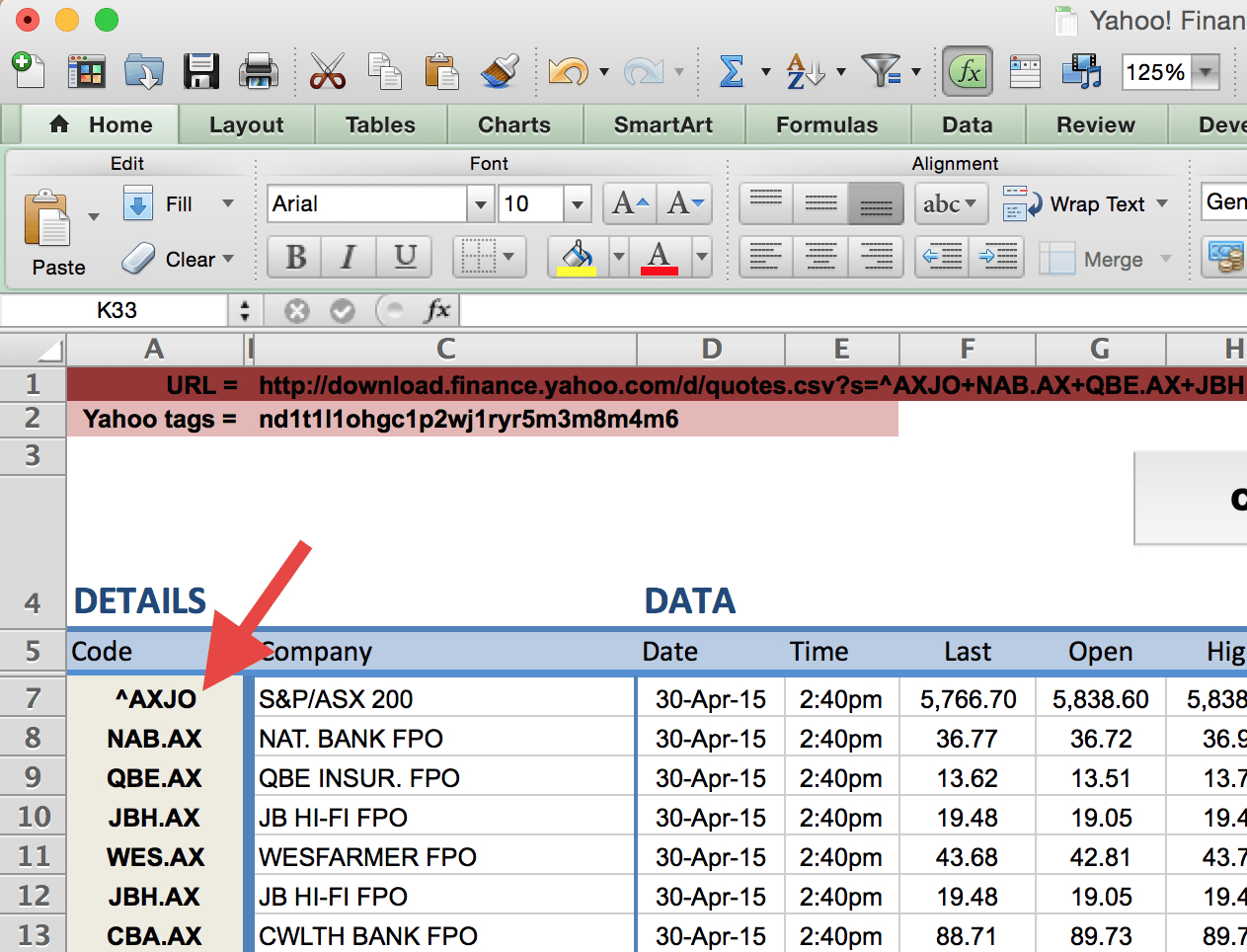 Download Stock Quotes To Excel Spreadsheet For How To Import Share Price Data Into Excel  Market Index