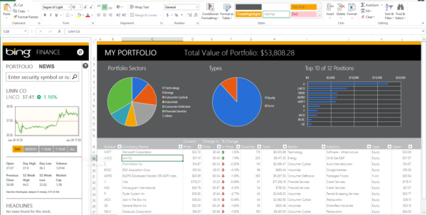 Download Stock Quotes To Excel Spreadsheet Pertaining To Bing Finance Tracker For Excel 1 Download My Financial Portfolio