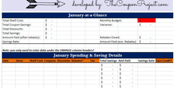 Downloadable Coupon Spreadsheet Inside Free Savings Tracker  Free Download