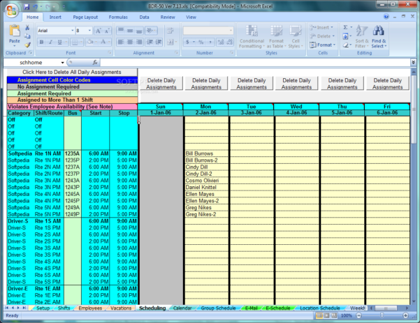 Driver Schedule Spreadsheet Inside Download School Bus Driver And Route Schedules 7.13