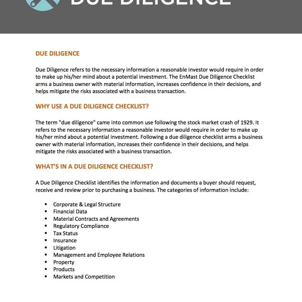 Due Diligence Spreadsheet Throughout Sample Of Due Diligence Report Small Business Tools Enmast Library