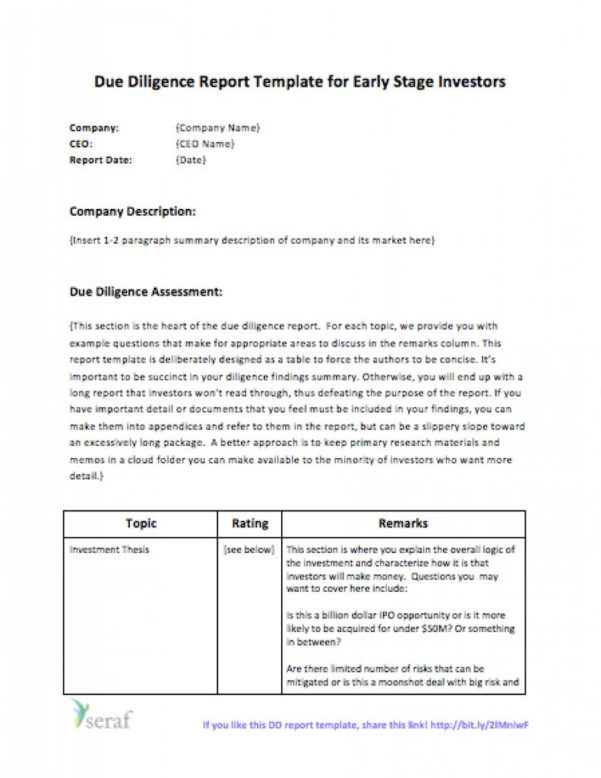 Due Diligence Spreadsheet With Template For Due Diligence Reports Eloquens Report Example