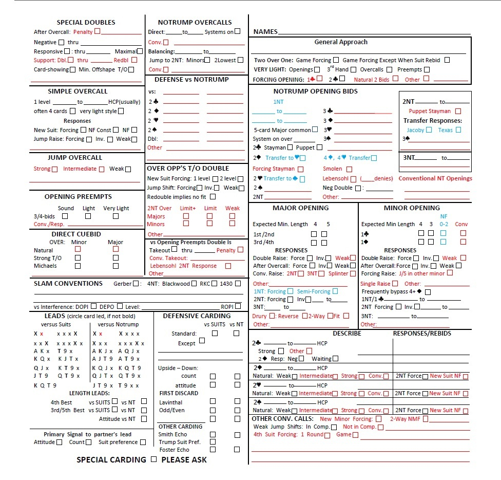 Duplicate Bridge Scoring Spreadsheet Pertaining To Convention Cards With Personal Score Sheet  Form 1240  Standard