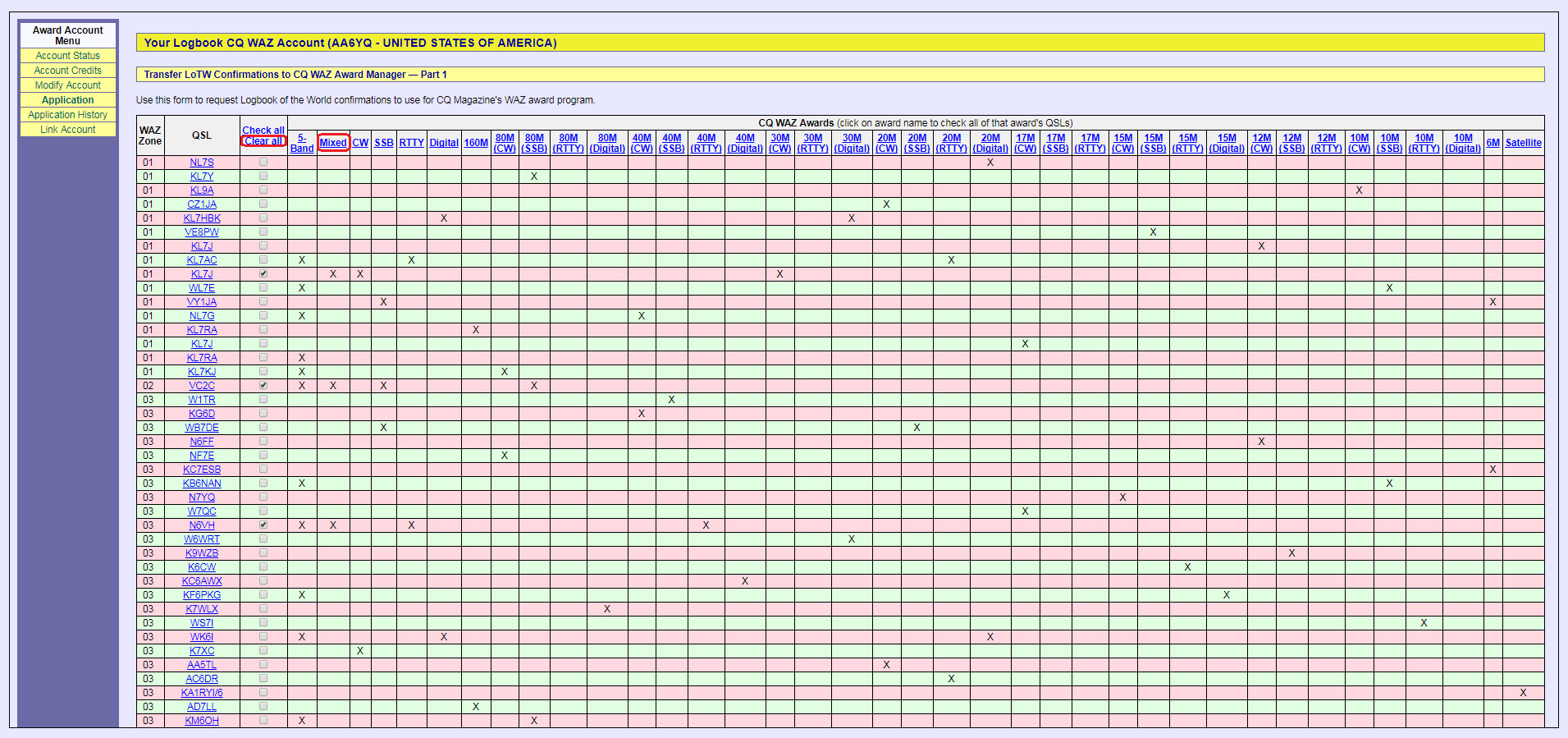 Dxcc Spreadsheet With Regard To Waz Award Credits — Logbook Of The World Lotw Help Pages