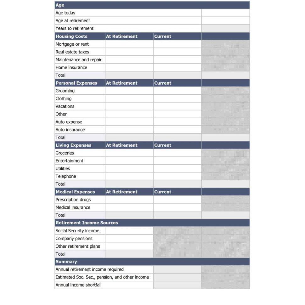 Early Retirement Spreadsheet Regarding Early Retirement Spreadsheet And Aarp Retirement Planning Worksheet