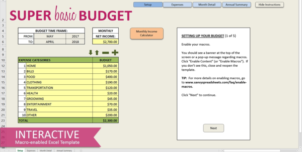 Easy Budget Spreadsheet Free In Easy Budget Spreadsheet Excel Template Savvy Spreadsheets Inside