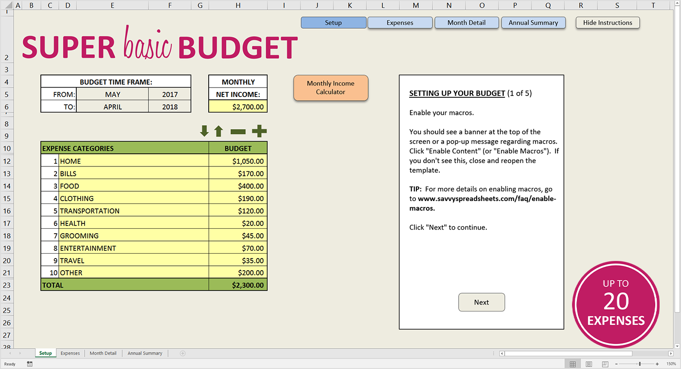 Easy Budget Spreadsheet Intended For Easy Budget Spreadsheet Excel Template  Savvy Spreadsheets