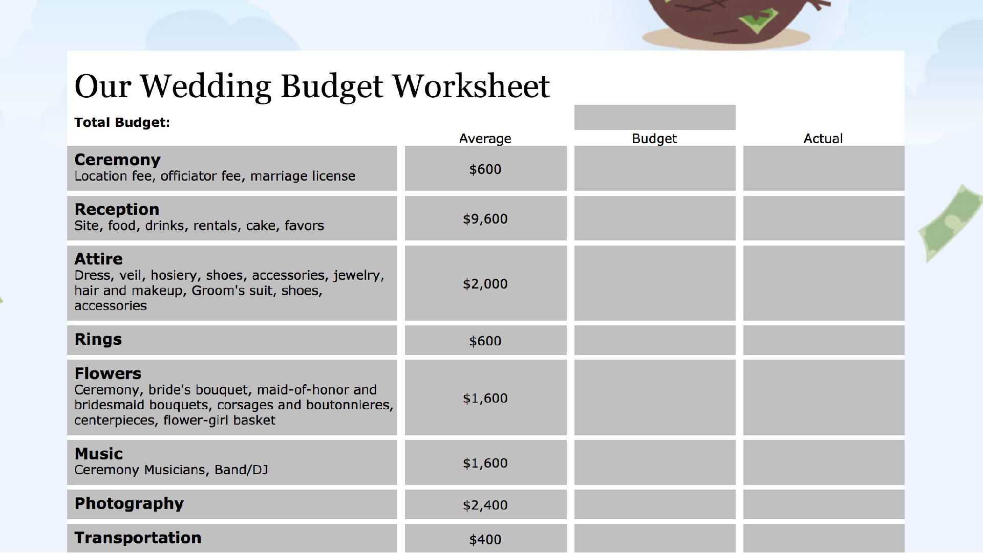 Easy Monthly Budget Spreadsheet Intended For 15 Easytouse Budget Templates  Gobankingrates