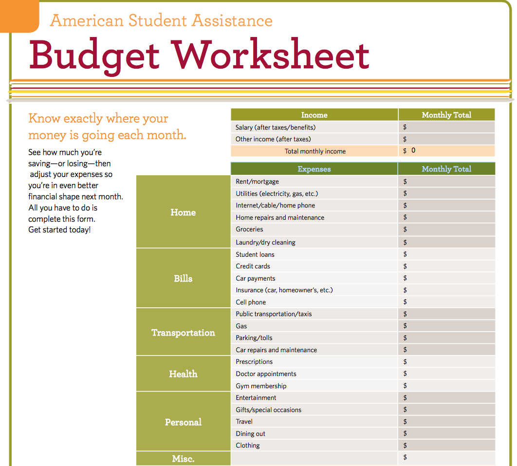 Easy Spreadsheet For Monthly Bills Within 9 Useful Budget Worksheets That Are 100% Free