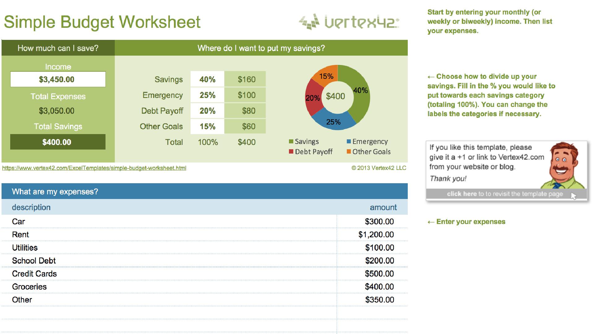 Easy Spreadsheet Template Inside 15 Easytouse Budget Templates  Gobankingrates