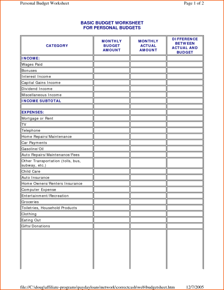Easy To Use Budget Spreadsheet Regarding Budgets For Dummies Worksheets Spreadsheet Template