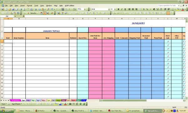 Ebay Profit And Loss Spreadsheet For Ebay Profit  Loss Excel Spreadsheet