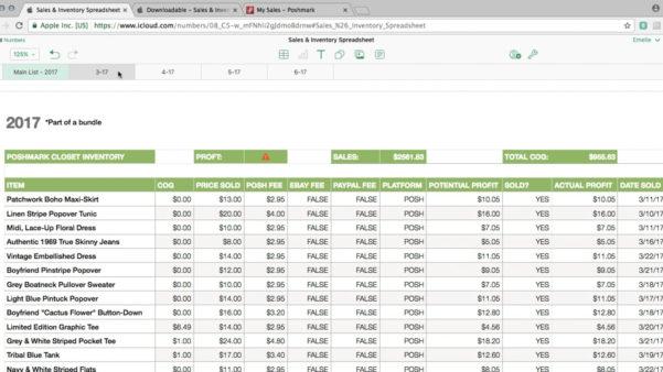 Ebay Selling Spreadsheet Template In Poshmark/ebay Sales  Inventory Spreadsheet Tutorial On Vimeo