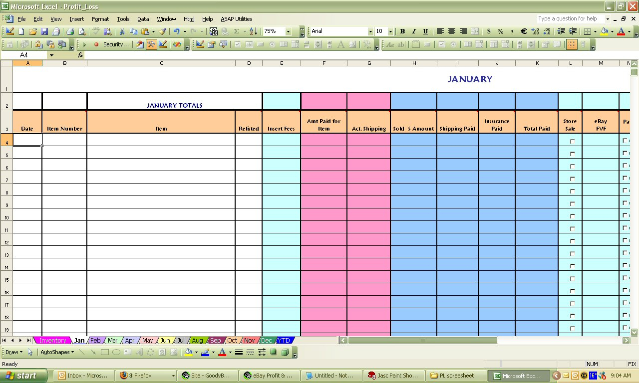 Ebay Spreadsheet In Ebay Profit  Loss Excel Spreadsheet