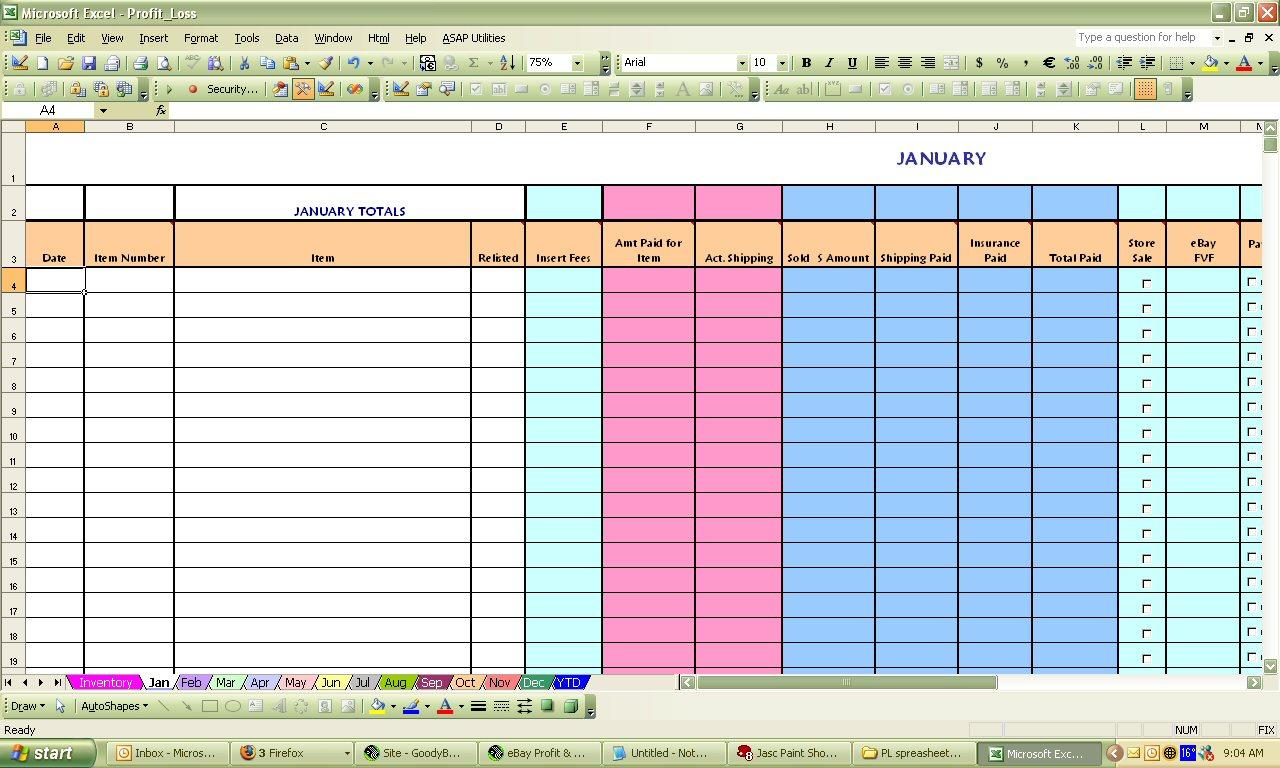Ebay Spreadsheet In Ebay Profit  Loss Excel Spreadsheet