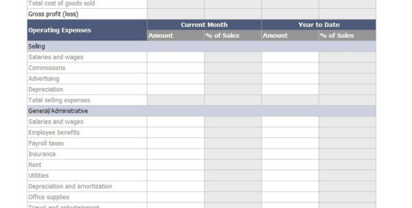 Ebay Spreadsheet Template Uk Inside 35 Profit And Loss Statement Templates For ~ Epaperzone