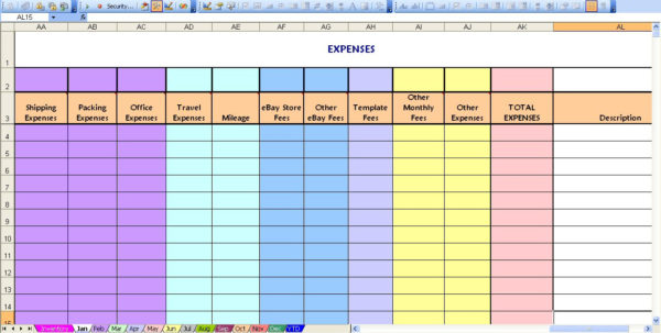 Ebay Spreadsheet Throughout Ebay Profit  Loss With Monthly Expense Spreadsheet