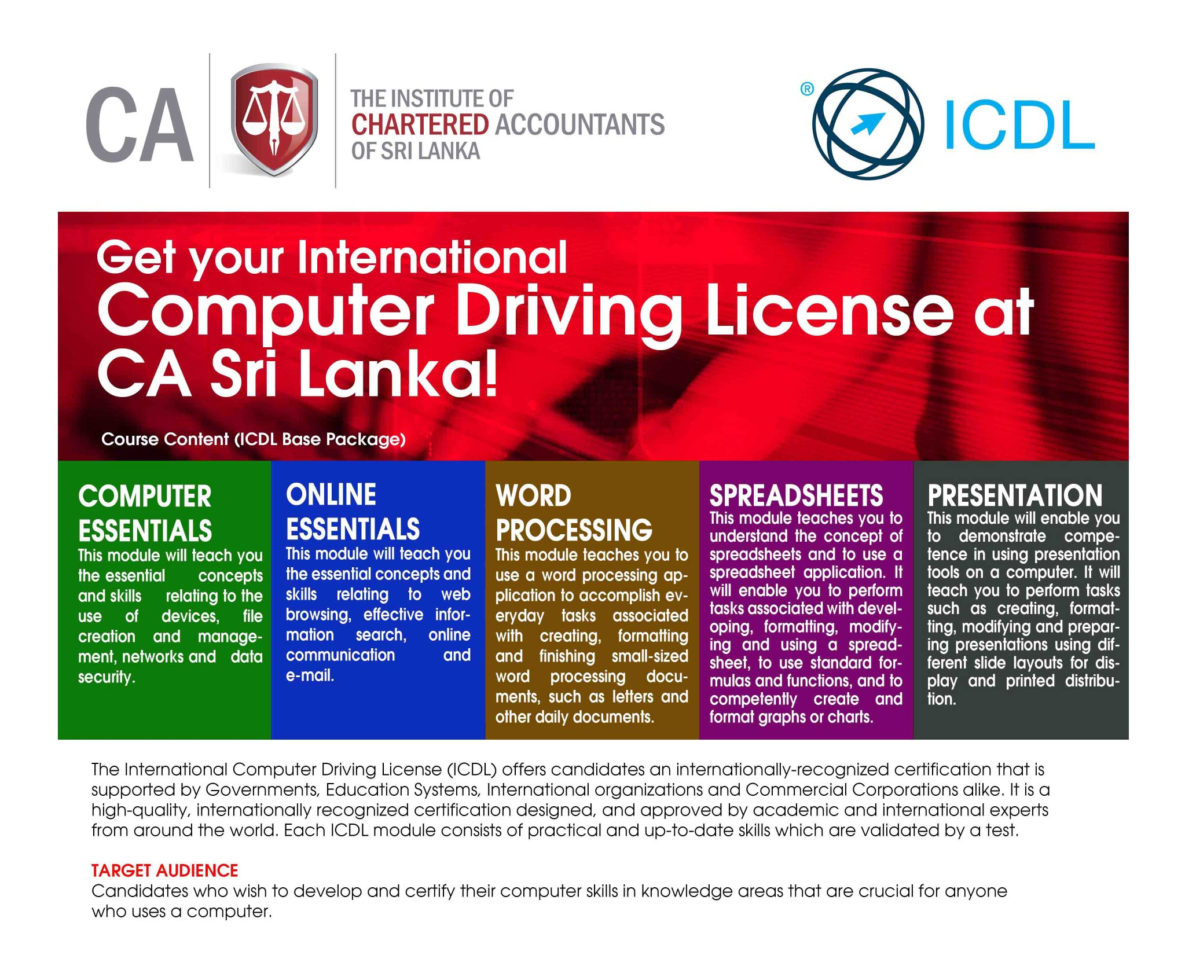 Ecdl Spreadsheet Test Intended For Icdl Sri Lanka Offers Icdl Programmes To Chartered Accountants To