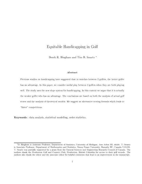 Eclectic Golf Spreadsheet Regarding Handicapping Net Bestball Team Matches In Golf  Request Pdf