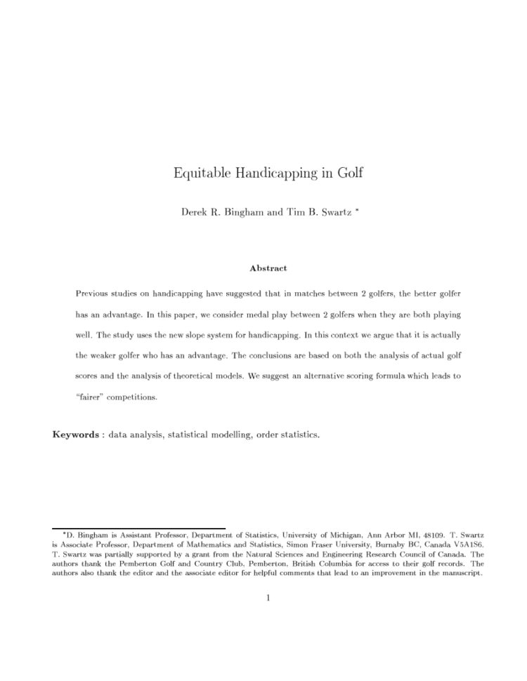 Eclectic Golf Spreadsheet Regarding Handicapping Net Bestball Team Matches In Golf  Request Pdf