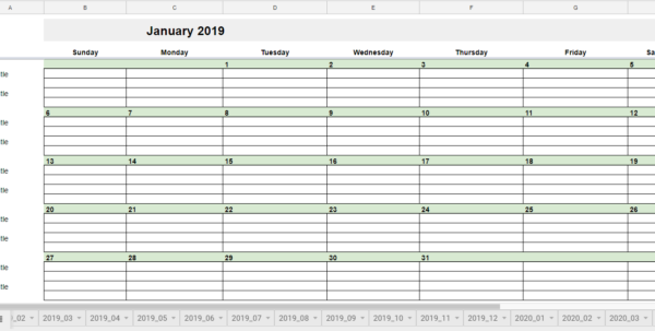 Editorial Calendar Spreadsheet Pertaining To Free 2019 Editorial Calendar In Google Sheets  Young Adult Money