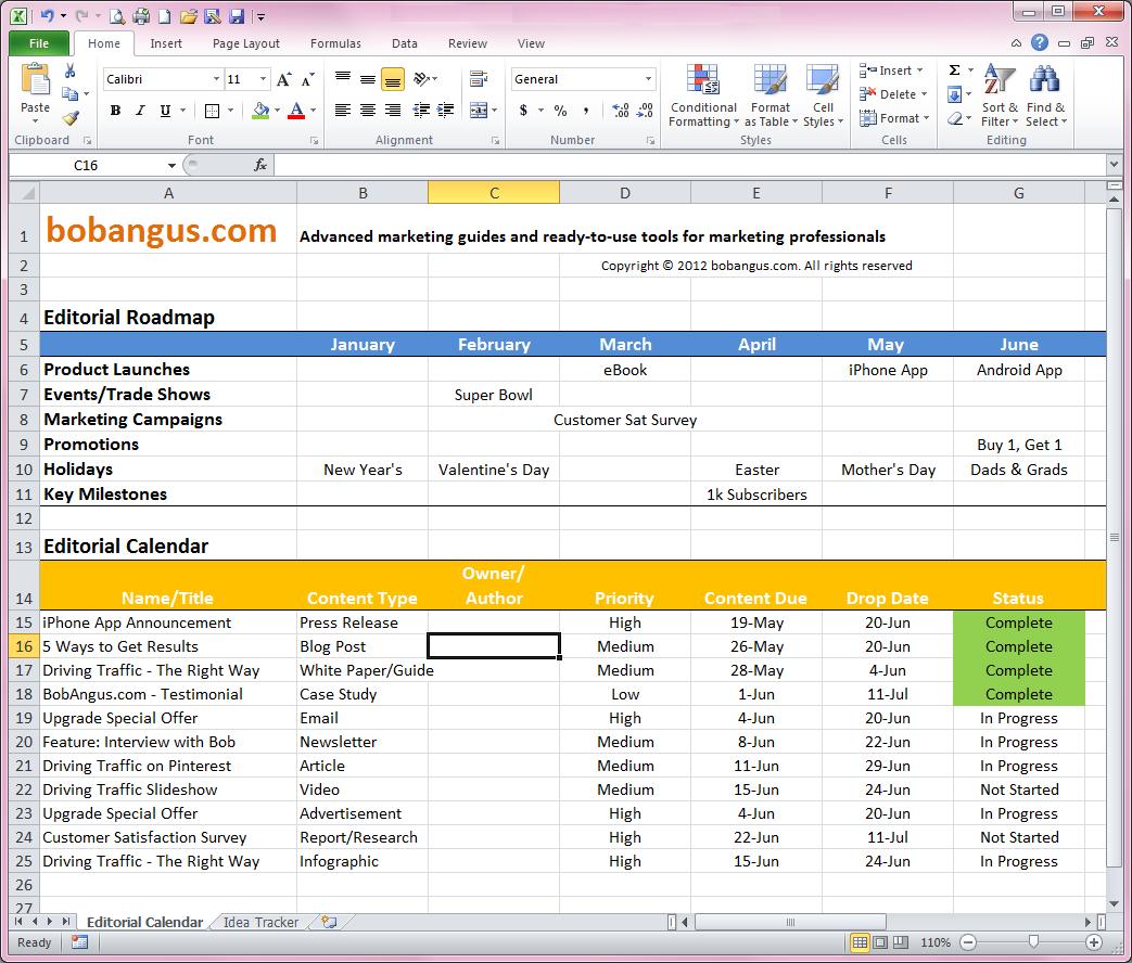 Editorial Calendar Spreadsheet Template In Free Editorial Calendar Template  Bobangus
