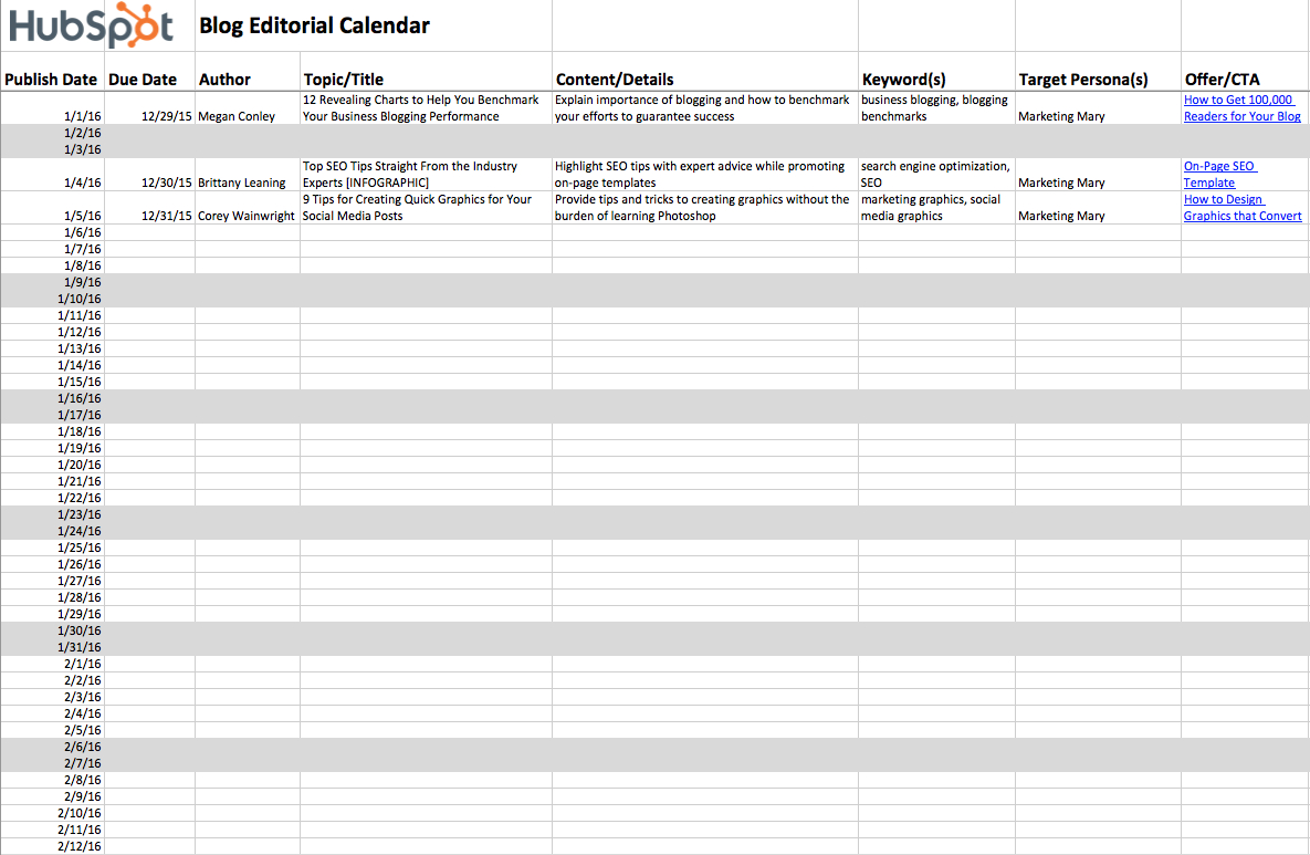 Editorial Calendar Spreadsheet Throughout 2018 Editorial Calendar Templates