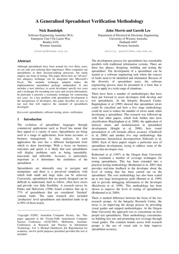 Electrical Diversity Spreadsheet Pertaining To Pdf A Generalised Spreadsheet Verification Methodology