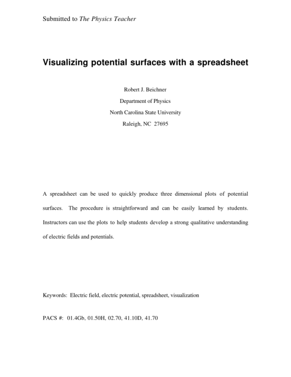 Electrical Diversity Spreadsheet With Pdf Visualizing Potential Surfaces With A Spreadsheet