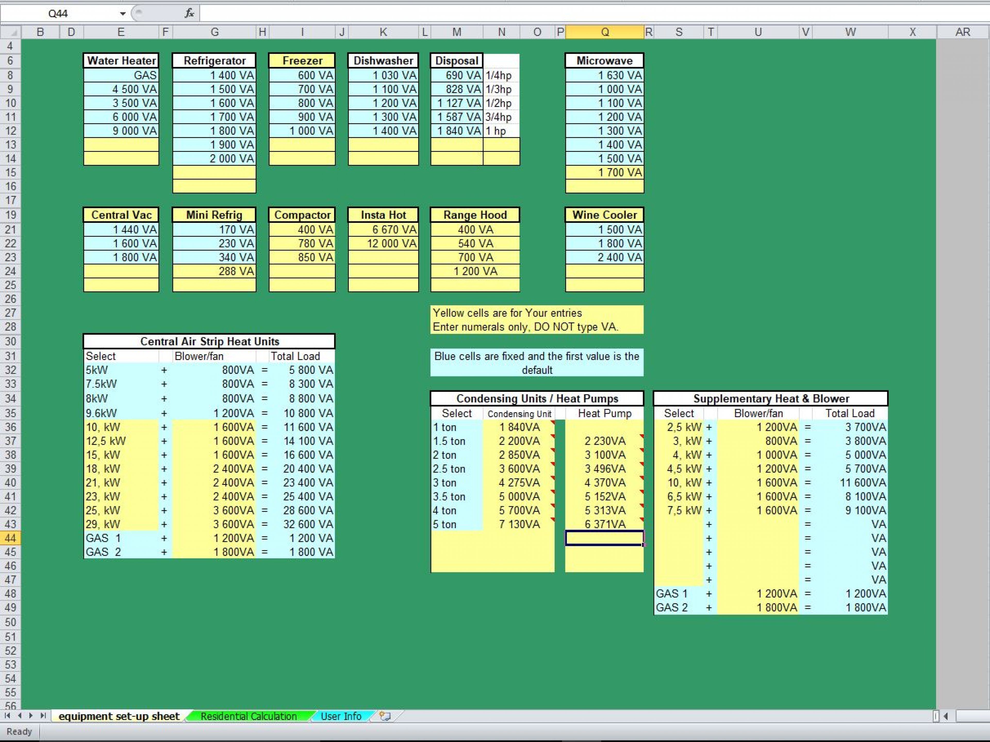 Electrical Load Analysis Spreadsheet Intended For Residential Load Calculation Spreadsheet  Eloquens