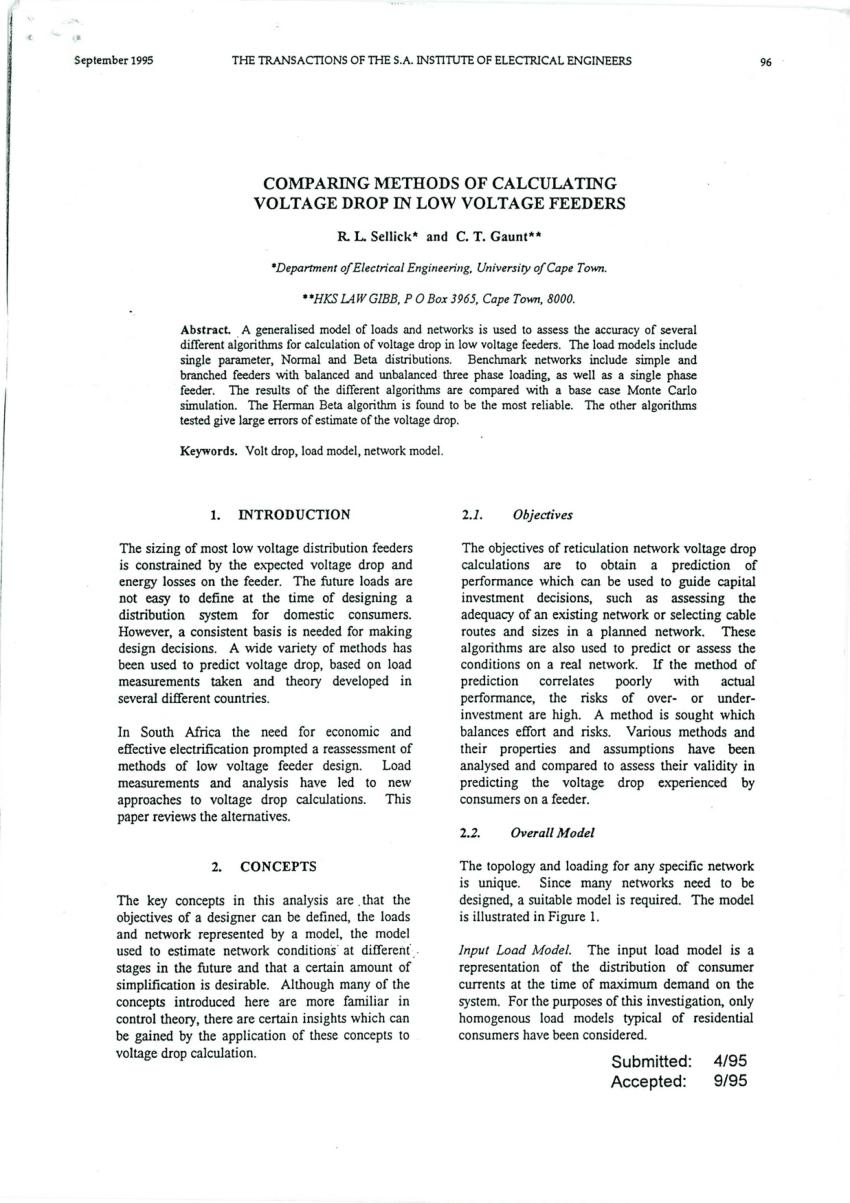 Electrical Maximum Demand Spreadsheet Regarding Pdf Comparing Methods Of Calculating Voltage Drop In Low Voltage