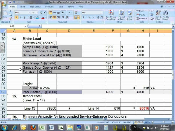 Electrical Panel Load Calculation Spreadsheet Inside Electrical Panel Load Calculation Spreadsheet Commercial Calculator