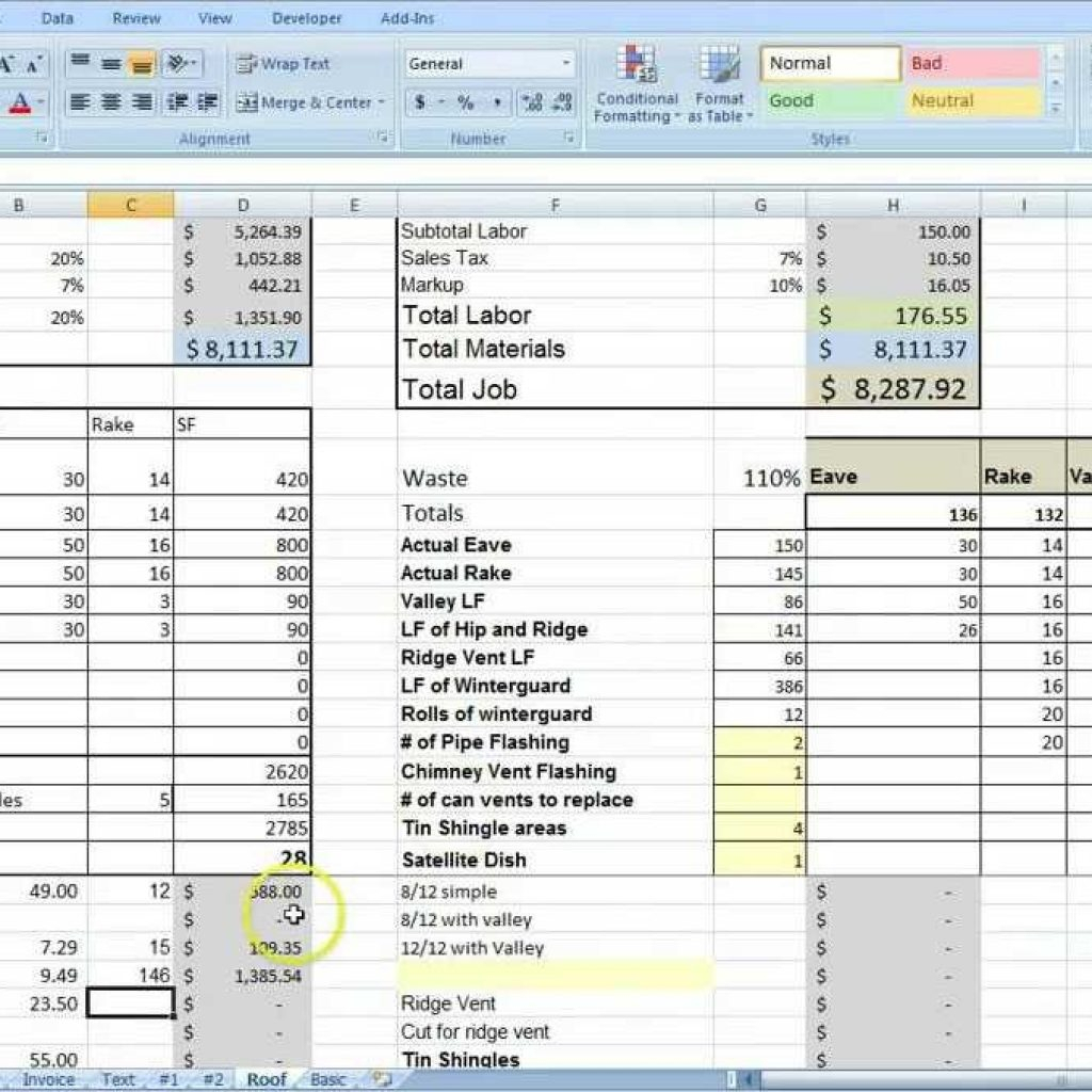 Testing Estimation Template: Electrical Spreadsheet Printable Spreadshee Electrical