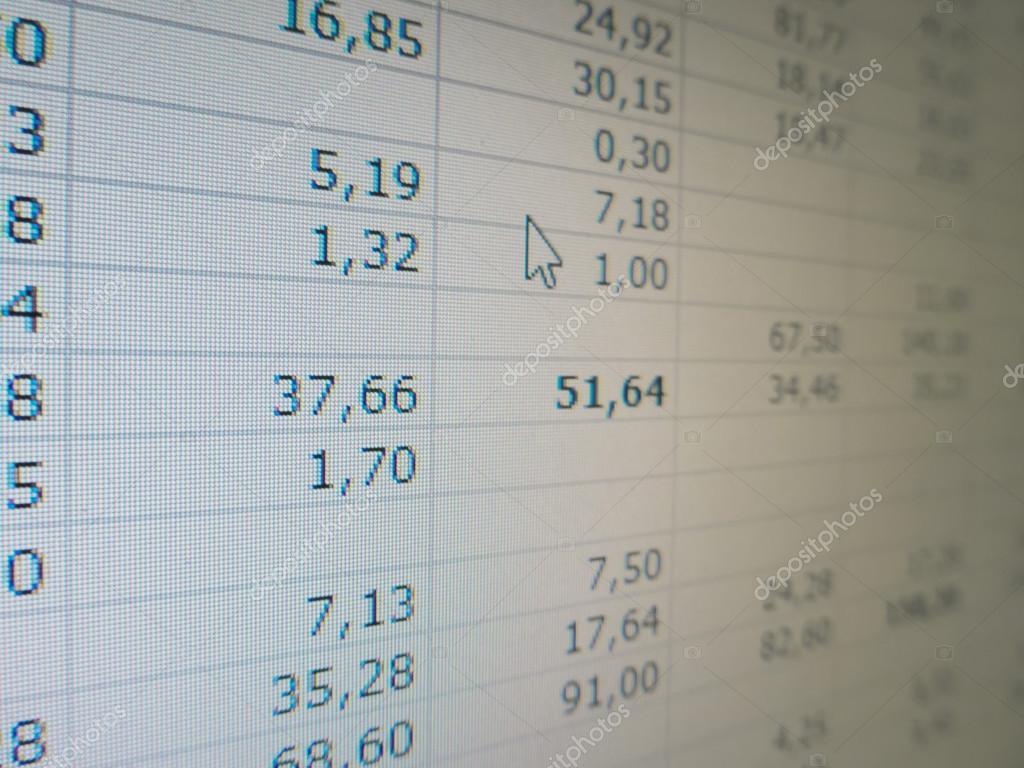 Electronic Spreadsheet In Electronic Spreadsheet — Stock Photo © Alfonsodetomas #82127194