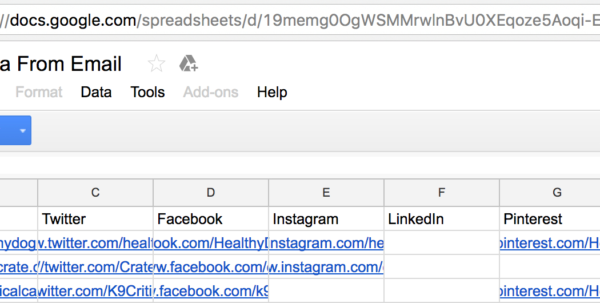 Email Data To Google Spreadsheet For Extract Social Profiles And Other Data From A List Of Business